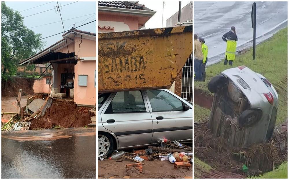 Tempestade interdita rodovia, desmorona casas e deixa moradores ilhados em Botucatu