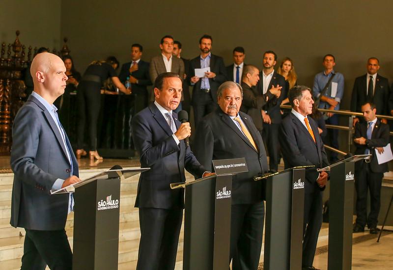 Governador do Estado de São Paulo, João Doria, durante coletiva de imprensa sobre coronavírus