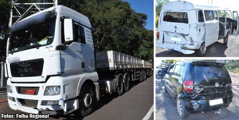 Bitrem e outros dois veículos se envolvem em acidente na Rodovia Comandante João Ribeiro de Barros (SP-294)